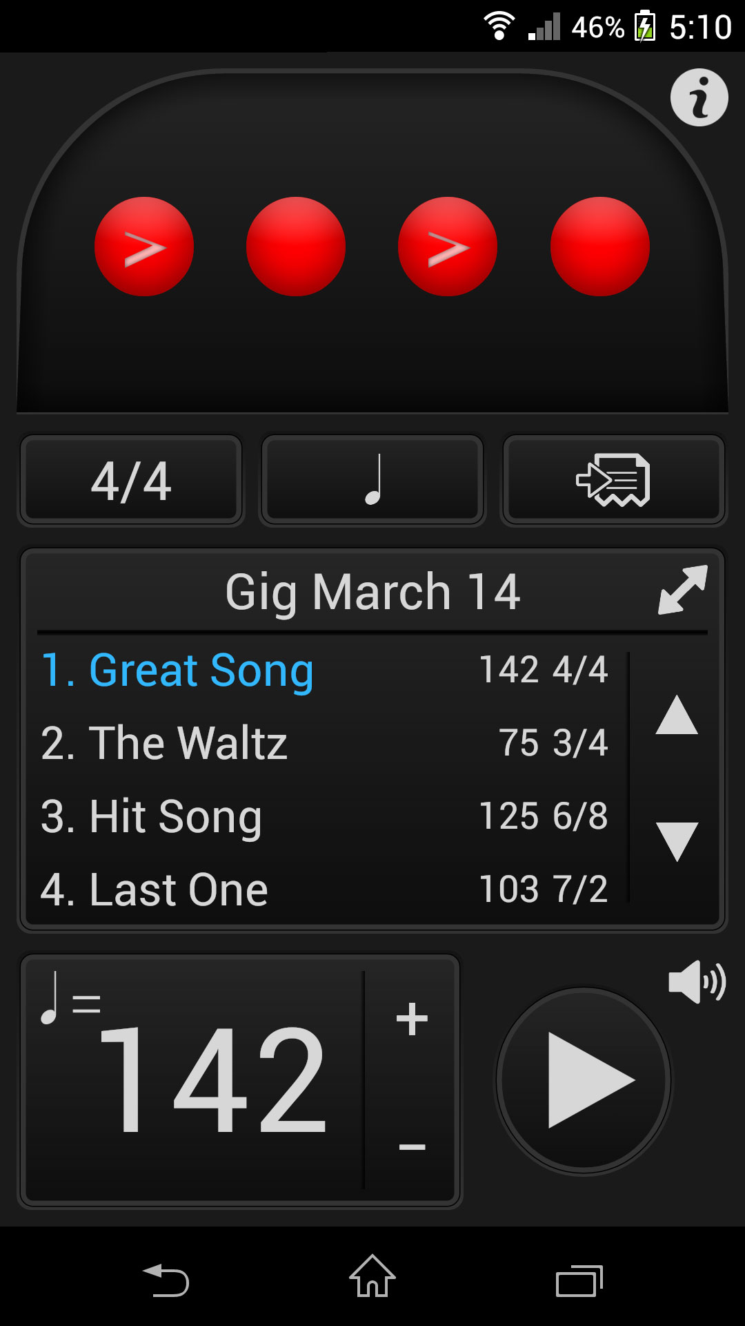 Tempo for Android by Frozen Ape, the famous metronome app